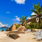 Chairs-on-tropical-beach-at-Seychelles-vacation-background